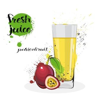 Pasyjny sok owocowy świeża ręka rysujący akwareli szkło na białym tle