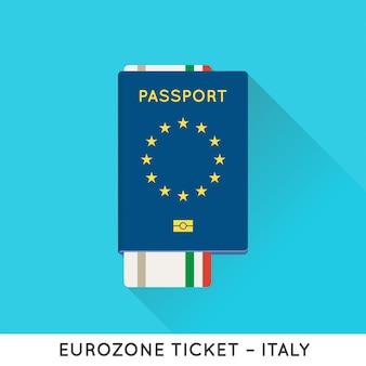 Paszport europejski strefy euro z biletami ilustracyjnymi. bilety lotnicze z flagą narodową ue.