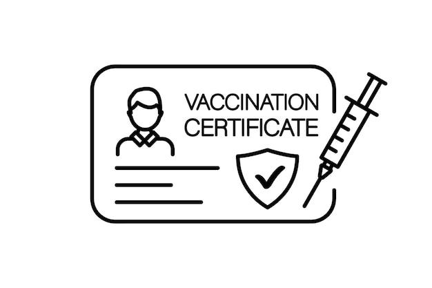 Paszport szczepionki covid-19. zaświadczenie o szczepieniu, karta medyczna lub paszport na podróż w czasie pandemii. ilustracja wektorowa karty szczepień, mężczyzna i kobieta. międzynarodowy certyfikat odporności