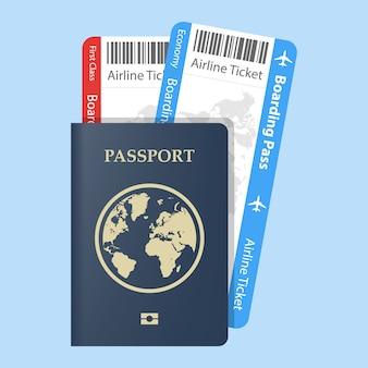 Paszport z biletami koncepcja podróży lotniczych. płaski identyfikator obywatelstwa dla podróżnika na białym tle. niebieski dokument międzynarodowy - ilustracja paszportów