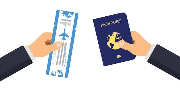 Paszport z biletem lotniczym. ręka daje paszport i kartę pokładową linii lotniczych. ilustracja.