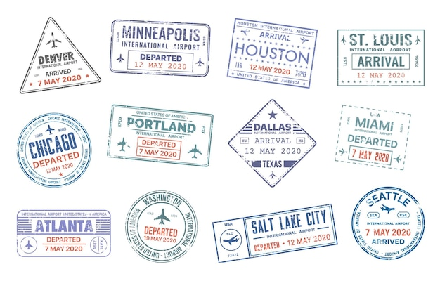 Paszportowe znaczki podróżne wektorowe z nazwami miast w usa denver, minneapolis, houston, st.louise i chicago, portland lub dallas, miami lub atlanta i waszyngton