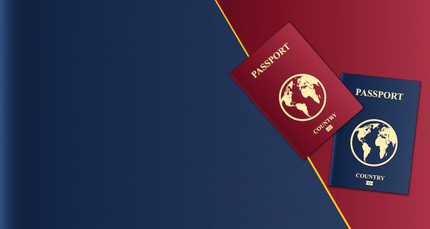 Paszporty z mapą świata, dokument tożsamości.