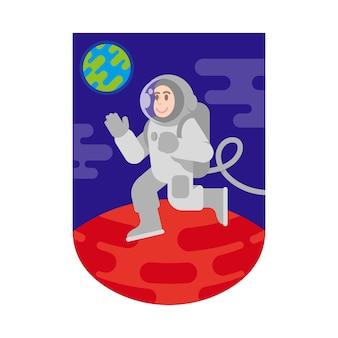 Patch Pierwsze Lądowanie Człowieka Na Planecie Mars Z Wolnej Przestrzeni Ziemi Między Gwiazdami, Chmurami Planet Kosmicznych. Misja Odkrycia Kolonizacji Kosmicznej. Premium Wektorów