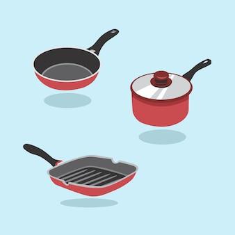 Patelnia wektor zestaw. zestaw przedmiotów kuchennych do gotowania. patelnia, patelnia, patelnia.