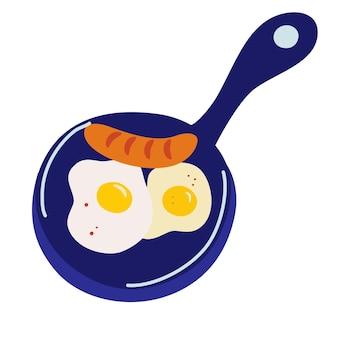 Patelnia z jajkami sadzonymi, projektowanie logo. śniadanie, restauracja, bar z przekąskami, fast food, żywność ekologiczna i naturalna, projekt wektorowy i ilustracja kreskówka.