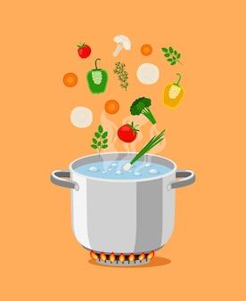 Patelnia z zupą. kreskówka garnek z wrzącą wodą i składnikami do gotowania, płonący palnik gazowy do wysokiej temperatury, obiekty ilustracji wektorowych do kuchni