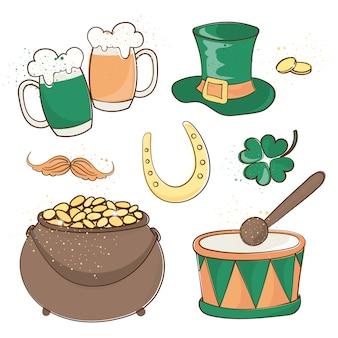 Patrick's beer saint patrick's day zestaw ilustracji wektorowych