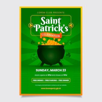 Patrick's party plakat lub szablon ulotki z monetami w kociołku
