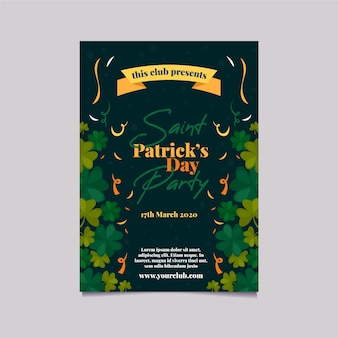 Patrick's party plakat lub szablon ulotki ze wstążką i koniczyny