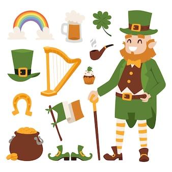 Patricks day wektorowe ikony i leprechaun