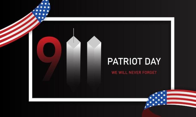 Patriot day, którego nigdy nie zapomnimy. wieże. 11 września. flaga usa. ilustracja wektorowa