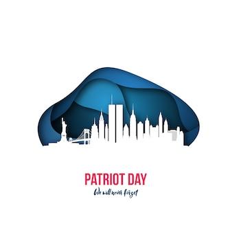 Patriot day new york skyline 11 września 2001.