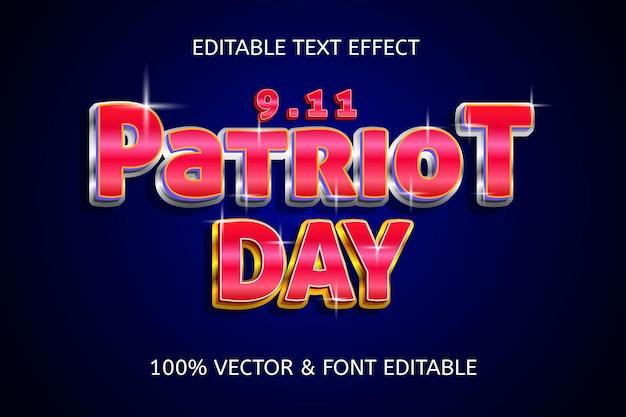 Patriot day style elegancki luksusowy edytowalny efekt tekstowy