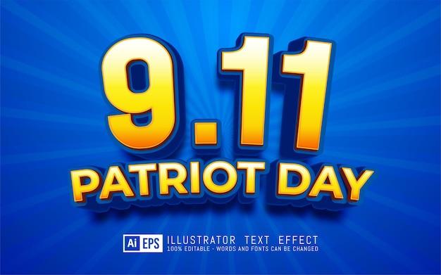 Patriot dayefekt tekstu, edytowalny styl tekstu 3d