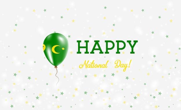 Patriotyczny plakat z okazji święta narodowego wysp kokosowych. latający balon gumowy w kolorach flagi wyspy kokosowe. tło święto narodowe wysp kokosowych z balonem, konfetti, gwiazdy, bokeh i błyszczy.