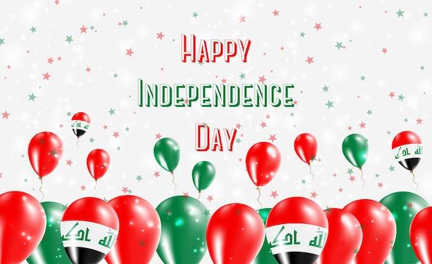 Patriotyczny projekt dzień niepodległości iraku. balony w irackich barwach narodowych. szczęśliwy dzień niepodległości wektor kartkę z życzeniami.