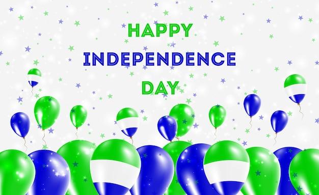 Patriotyczny projekt dzień niepodległości sierra leone. balony w barwach narodowych sierra leone. szczęśliwy dzień niepodległości wektor kartkę z życzeniami.