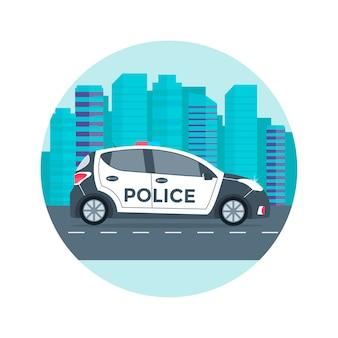 Patrol policji na drodze z radiowozem, policjantem, miastem, krajobrazem przyrody. płaska ilustracja.