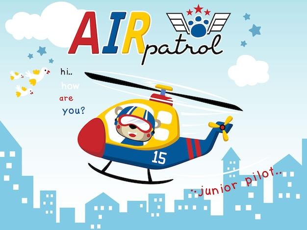 Patrol powietrzny z zabawną pilotową kreskówką na helikopterze