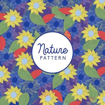 Patrón natural de flores y hojas