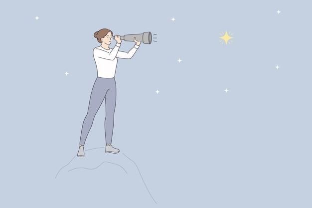 Patrząc na gwiazdy z koncepcją lornetki. młoda kobieta postać z kreskówki stojąca patrząc na gwiazdy na niebie przez ilustracji wektorowych lornetki