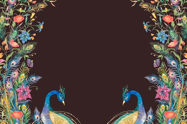 Pawie rama wektor z akwarela kwiaty na czarnym tle
