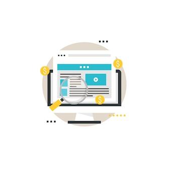 Pay per click, reklamy cyfrowe, reklama online, optymalizacja reklam, marketing internetowy ilustracja płaska ilustracja wektorowa dla mobilnych i grafiki internetowej