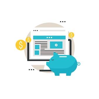 Pay per click, reklamy cyfrowe, reklama online, optymalizacja reklamy, marketing internetowy płaski wektor