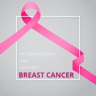 Październik miesiąc świadomości raka piersi. międzynarodowy dzień walki z rakiem piersi. różowa wstążka świadomości. ilustracja wektorowa. plakat, reklama, media społecznościowe, okładka. eps10.