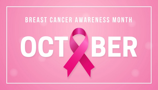 Październik miesiąc świadomości raka piersi plakat tło koncepcji
