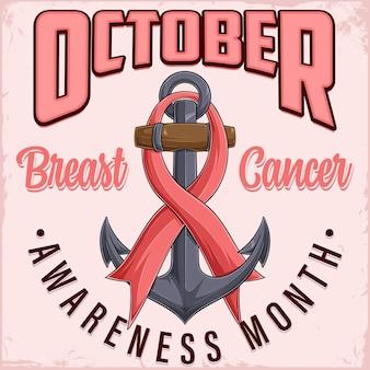 Październik plakat miesiąca świadomości raka piersi ze starą kotwicą i różową wstążką opieka zdrowotna kobiet