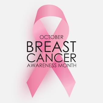 Październikowy miesiąc świadomości raka piersi koncepcja. różowa wstążka znak