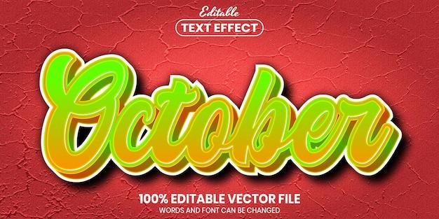 Październikowy tekst, edytowalny efekt tekstowy w stylu czcionki