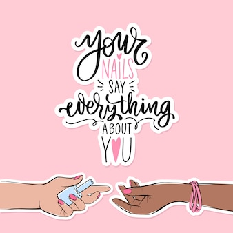 Paznokcie i manicure ilustracja transparent lub plakat. kobiece dłonie o różnych kolorach skóry. różowy lakier do paznokci