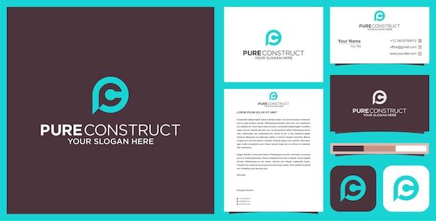 Pc logo projekt wizytówki wektor premium