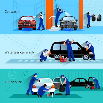 Pełny usługowy samochodowy obmycie z asystenta drużyny cleaning pojazdu 3 płaskich sztandarów abstrakcjonistycznym wektorem odizolowywającym