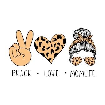 Peace love momlife twarz kobiety z chustką w okularach pilotki i nadrukiem w panterkę messy bun mom