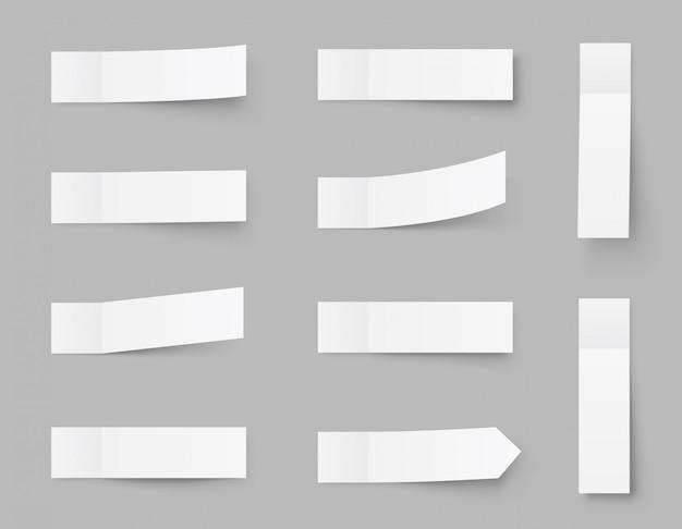 Pealistyczne karteczki, naklejki pocztowe z cieniami na szarym tle. papierowa taśma klejąca z cieniem. papierowa taśma klejąca, puste puste półki biurowe.