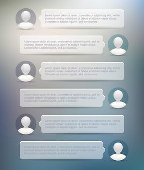 Pęcherzyki czatu telefonicznego z ikonami użytkownika