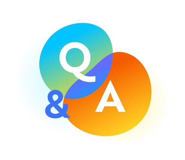 Pęcherzyki gradientu q i a, ikona sieci pytań i odpowiedzi. wielkie litery, komunikacja, symbole czatu dla infografiki