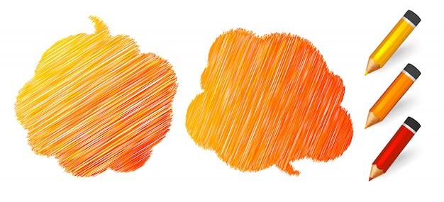Pęcherzyki mowy i myśli narysowane na pomarańczowe ołówki