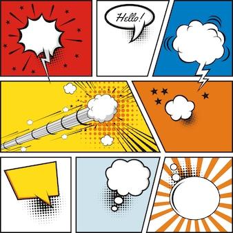 Pęcherzyki mowy komiksu. elementy projektu retro