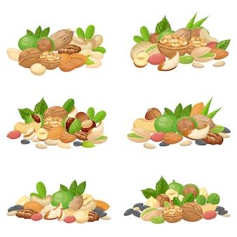 Pęczek orzechów. ziarna owoców, suszone orzechy migdałów i gotowanie nasion na białym tle zestaw