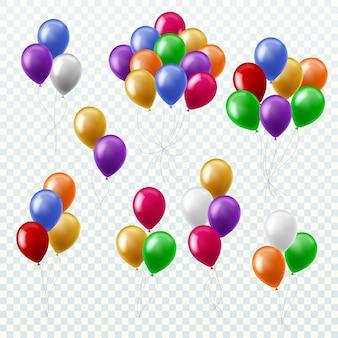 Pęczki balonów. strona dekoracji kolorowe balony latające grupy na białym tle wektor 3d zestaw