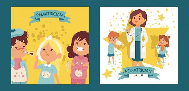 Pediatra kobiety lekarka z chorymi dziećmi ustawiającymi plakaty, karta wektoru ilustracja. lekarz ortorynolaringolog lub lekarz z wyposażeniem. stetoskop gospodarstwa kobiety