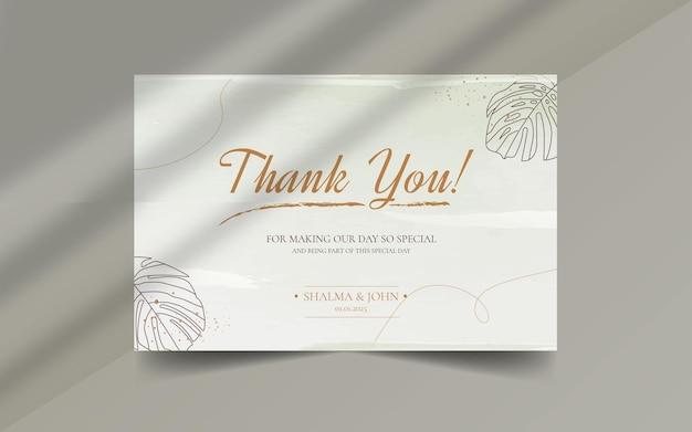 Pędzel kwiatowy abstrakcyjny kształt organiczny z edytowalnym tekstem dziękuję szablonowi etykiety karty ślubnej
