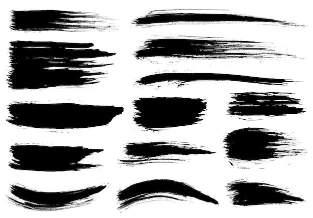 Pędzel malarski. pociągnięcia pędzlem grunge czarnym tuszem. zestaw pędzli. elementy projektu grunge. malowane paski atramentu.