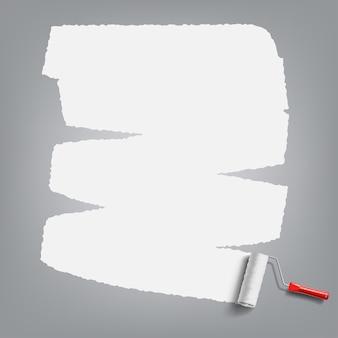 Pędzel rolkowy z białą farbą
