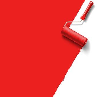 Pędzel rolkowy z czerwoną farbą
